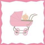 Karta z różowym pram, spacerowicz Obraz Stock