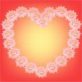 Karta z różowymi lotosowymi kwiatami w formie serca wektor Obraz Royalty Free