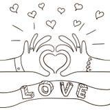 Karta z ręką fornal i panna młoda z obrączkami ślubnymi Kreślący styl Fotografia Royalty Free