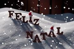 Karta Z Santa kapeluszem, płatek śniegu, Feliz Natale Podli Wesoło boże narodzenia Obraz Royalty Free