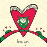 Karta z sową w miłości i sercu Zdjęcia Royalty Free