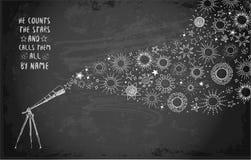 Karta z teleskopem, słońcem i inny doodle, gra główna rolę na blackboard tle Obrazy Stock