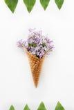 Karta z zakończeniem w górę bukieta purpurowi lili kwiaty w gofra rożku ramie raws zieleni liście na białym tle i  Zdjęcia Stock