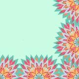Karta z zielonych kwiatów rocznika ramowymi kolorami 01 Obrazy Royalty Free