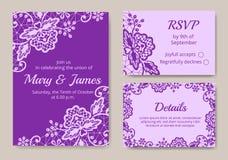karta zestaw ślub royalty ilustracja