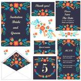 karta zestaw ślub Ślubni zaproszenia dziękuję karty Save daktylową kartę Stołowa karta karciany miejsce menu wzór ilustracja wektor