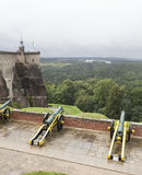 Kartaun (siege weapon) on serf carriage. Fortress Königstein. Saxony. Germany. Konigstein, Saxony, Germany - 7 september, 2015: A number of cast-iron guns on Stock Images