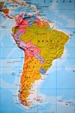 Kartboksikt av Sydamerika Arkivfoton