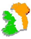 Karte 3d mit Markierungsfahne von Irland lizenzfreie abbildung
