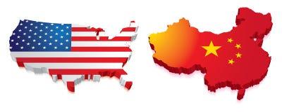 Karte 3D von China und von US mit Markierungsfahne Stockbild
