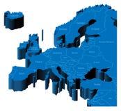 Karte 3d von Europa Lizenzfreie Stockfotografie