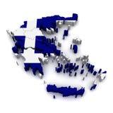 Karte 3D von Griechenland Lizenzfreies Stockfoto