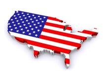 Karte 3d von Vereinigten Staaten Stockfoto