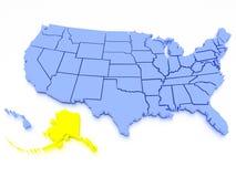 Karte 3D von Vereinigten Staaten - Zustand Alaska Stockbilder