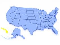 Karte 3D von Vereinigten Staaten - Zustand Hawaii Stockbild