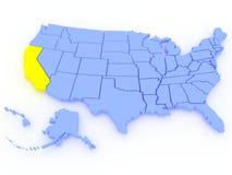 Karte 3D von Vereinigten Staaten - Zustand Kalifornien Lizenzfreies Stockfoto