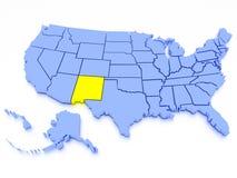 Karte 3D von Vereinigten Staaten - Zustand Kalifornien Stockfotos