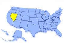 Karte 3D von Vereinigten Staaten - Zustand Nevada Lizenzfreie Stockfotografie