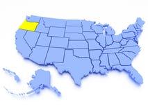 Karte 3D von Vereinigten Staaten - Zustand Oregon Stockfotografie