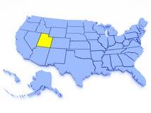 Karte 3D von Vereinigten Staaten - Zustand Utah Stockfotografie