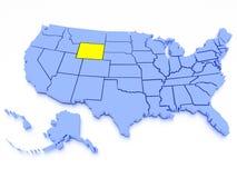 Karte 3D von Vereinigten Staaten - Zustand Wyoming Lizenzfreie Stockfotos