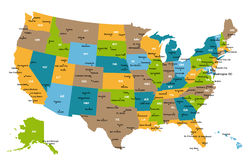 Karte aller US-Zustände stockfoto