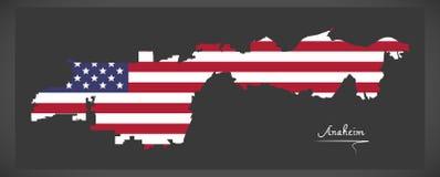 Karte Anaheim Kalifornien mit amerikanischer Staatsflaggeillustration Stockbild
