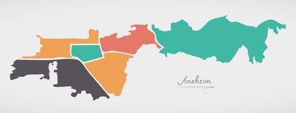 Karte Anaheim Kalifornien mit Nachbarschaften und moderner runder Form Lizenzfreie Stockfotos