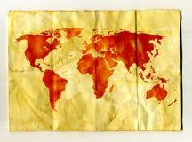 Karte auf einem schäbigen Blatt Papier Stockfotografie