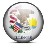 Karte auf Flaggenknopf von USA-Staat Illinois Stockbilder