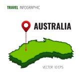 Karte 3D von Australien GPS Navigatorstift, der grüne Farbe auf weißem Hintergrund überprüft Infographics für Ihr Geschäft Vektor Lizenzfreies Stockfoto