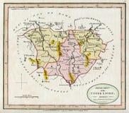 Karte der Antiken-1794 von der oberen Loire Frankreich Lizenzfreie Stockfotos