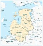 Karte der baltischen Staaten lizenzfreie abbildung