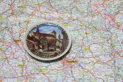 Karte der Deutschland-Andenkenplatte von Nürnberg Lizenzfreie Stockfotografie