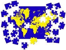 Karte der Erde von einem Puzzlespiel ein Vektor Stockbilder