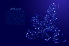 Karte der Europäischen Gemeinschaft des polygonalen Mosaiks zeichnet Netz, Strahlen, Raumsterne der Vektorillustration Lizenzfreie Stockfotos