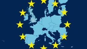 Karte der Europäischen Gemeinschaft, die Brexit mit dem Vereinigten Königreich verschwindet in einem rauchigen Effekt - Sternsymb stock abbildung