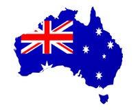 Karte der Flagge 3D von Australien übertragen auf Weiß Stockbild