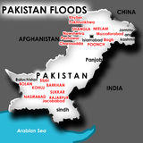 Karte der Flut in Pakistan Lizenzfreies Stockbild