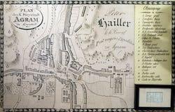 Karte der freien königlichen Stadt von Zagreb ab 1817 Lizenzfreies Stockfoto