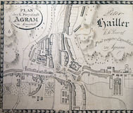 Karte der freien königlichen Stadt von Zagreb ab 1817 Stockfotografie