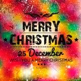 Karte der frohen Weihnachten auf Schmutzpapier Lizenzfreies Stockbild