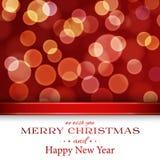 Karte der frohen Weihnachten mit bokeh Lizenzfreie Stockfotografie