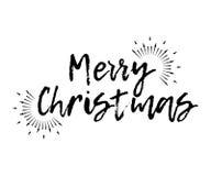 Karte der frohen Weihnachten mit dem Sonnendurchbruch und Kalligraphie fröhlich Lizenzfreies Stockbild