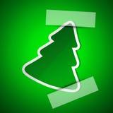 Karte der frohen Weihnachten mit einfachem grünem Baum Stockfoto