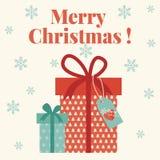 Karte der frohen Weihnachten mit Geschenkboxen stock abbildung