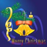 Karte der frohen Weihnachten mit Glocken Stockbild