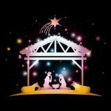 Karte der frohen Weihnachten mit heiliger Familie im Stall vektor abbildung