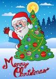 Karte der frohen Weihnachten mit Sankt 1 Lizenzfreie Stockfotografie