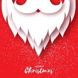 Karte der frohen Weihnachten mit Santa Claus-Bart und -schnurrbart lizenzfreie abbildung